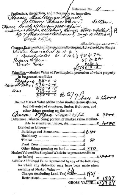 Cottam 1910 Valuation Survey, page 2 - 75kB jpg