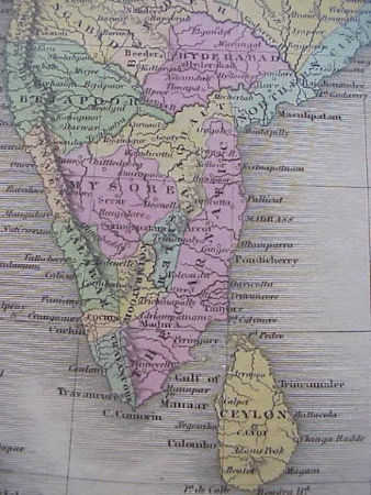 A 1820 map of south India showing Madras - 49Kb jpg