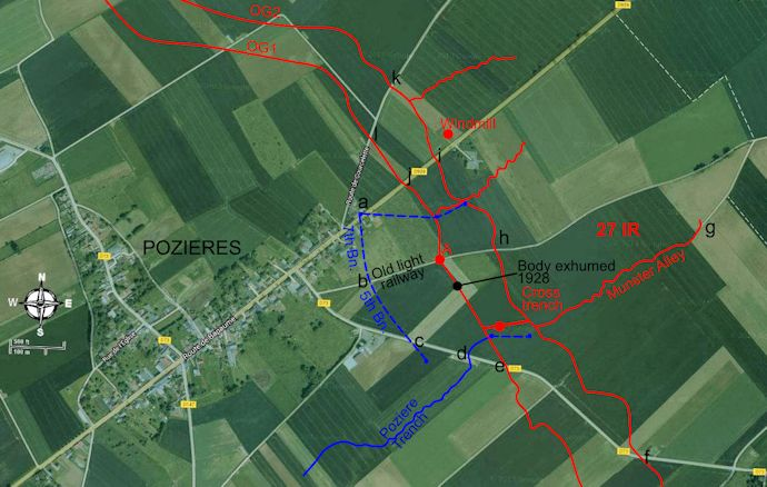 Salent features of Pozieres battle superimposed on aerial view - 60kB jpg