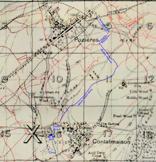 5th Bn approach march at Pozieres 24 July 16 - 98kB jpg